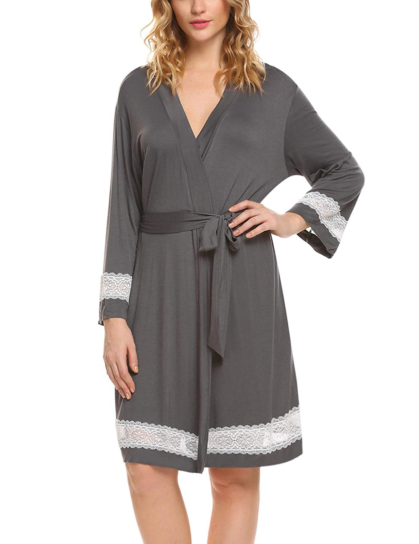 545bcce590 Get Quotations · Ekouaer Women s Robe Lace Kimono Bathrobe Bride Robes  Short With Lace Trim Sleepwear S-XXL