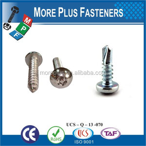 Taiwan Stainless Steel 18-8 Copper Brass Aluminum Brass Hex Head Self Drilling Screws White Head Self Drilling Screw Wafer Head