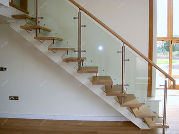 Building Lshaped Steel Wood Stairs Interior With Tempered Gl Yg9001 19c