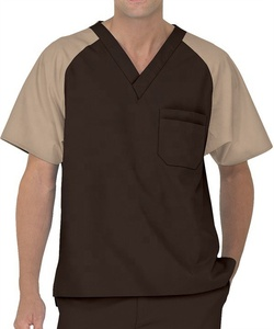 Contrast Colour Fashion Design Short Sleeve Scrubs Top