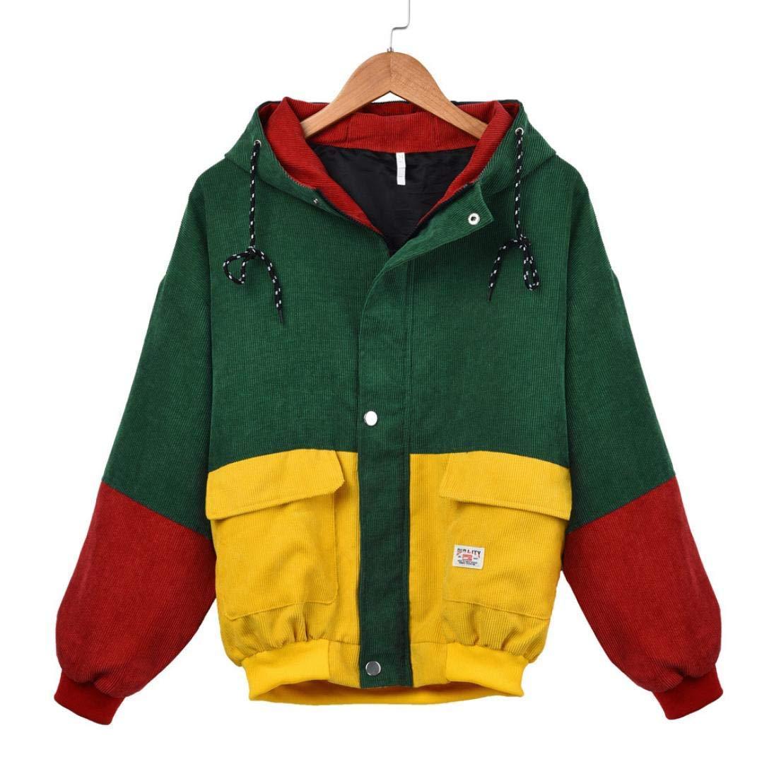 Teen Girls Overcoat,Leyorie Women Long Sleeve Corduroy Patchwork Jacket Windbreaker Block Color Coat