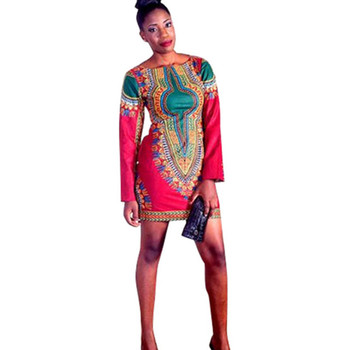 7ae34ea16a17 Wholesale African Clothes Designs Women traditional printed long sleeve Dashiki  mini dresses African dress patterns