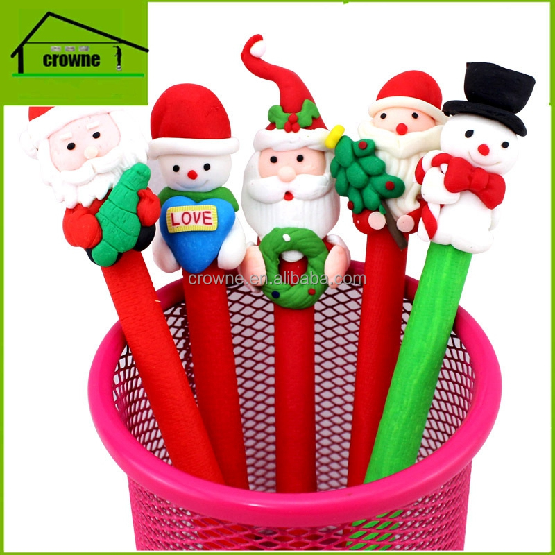 Cute Christmas Santa Claus Ballpoint Pen 0.7mm Soft ceramic Black Ball Pen Christmas gifts Office School Supplies