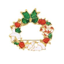 Pin Brooches Christmas Wreath Gold Plated Red & Green Enamel Womens Brooch