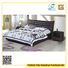 hot sale modern Design faux leather upholstered black leather bed