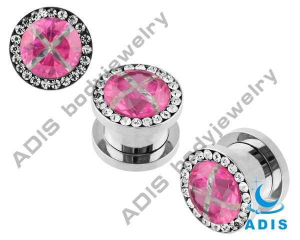 2016 Fashion gorgeous surgical steel piercing diamond ear plugs gauges