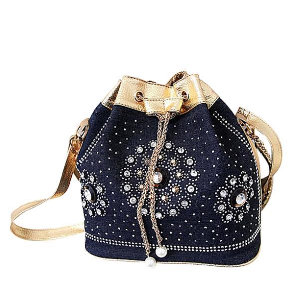 a2c1c1de707 Get Quotations · Women Hand Silt 2015 Pocket Real Denim Bolsas Femininas  Messenger Bags New Cloth Handbag Chains Bucket