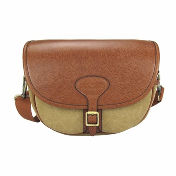 Classic hunting canvas and leather loose ammo shell cartridge bag