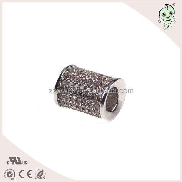 Factory Price CZ Pave Setting Silver Cylindrical Charm Beads,Silver Jewelry Accessories