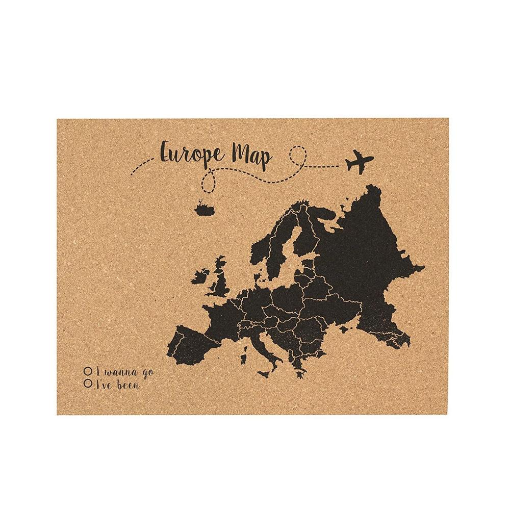 High Quality Decorative Soft Bulletin Board Custom World Map Printed Push Pins Cork board with Wooden Frame
