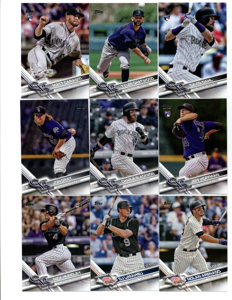 2017 Topps Series 1 2 Colorado Rockies Team Set of 29 Cards: Mark Reynolds(#4), Daniel Descalso(#17), Nolan Arenado(#35), Trevor Story(#42), DJ LeMahieu(#81), Nick Hundley(#108), Nolan Arenado(#152), Jake McGee(#180), Jon Gray(#209), Charlie Blackmon(#265), New Blake Street Bombers(#298), David