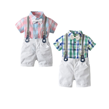 Summer Boy Suit Short Sleeve Suit + Back Belt Shorts baby clothes suit Summer kids high quality baby clothes clothing set
