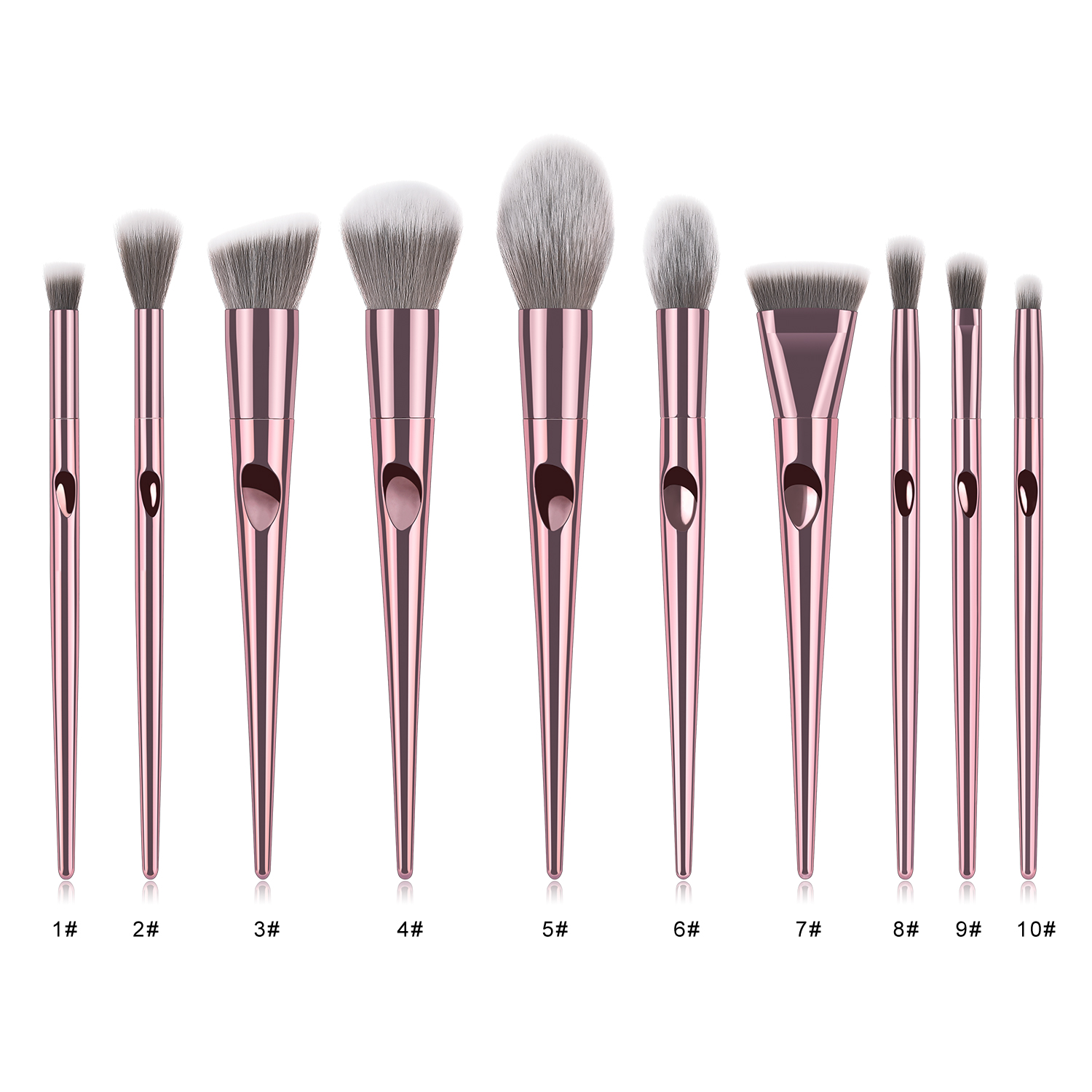 2019 New Arrival 20% Off Private Label Logo Father Finger Thumb Rose Gold  10pcs Make up Makeup Brush Set