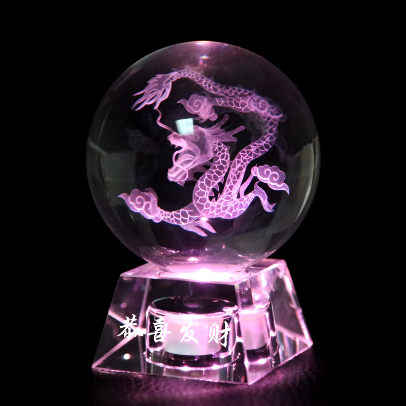 Cheap Beautiful pattern 3d Laser 80mm 100mm Globe K9 Glass Solar Crystals Dragon Balls with  crystal base For Home Decor wedding