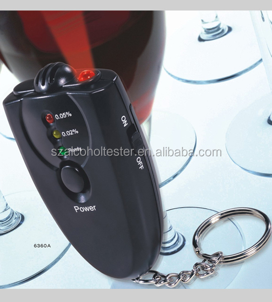 Mini keychain wine tester LED alcohol detector with flashlight for driver safety 6360