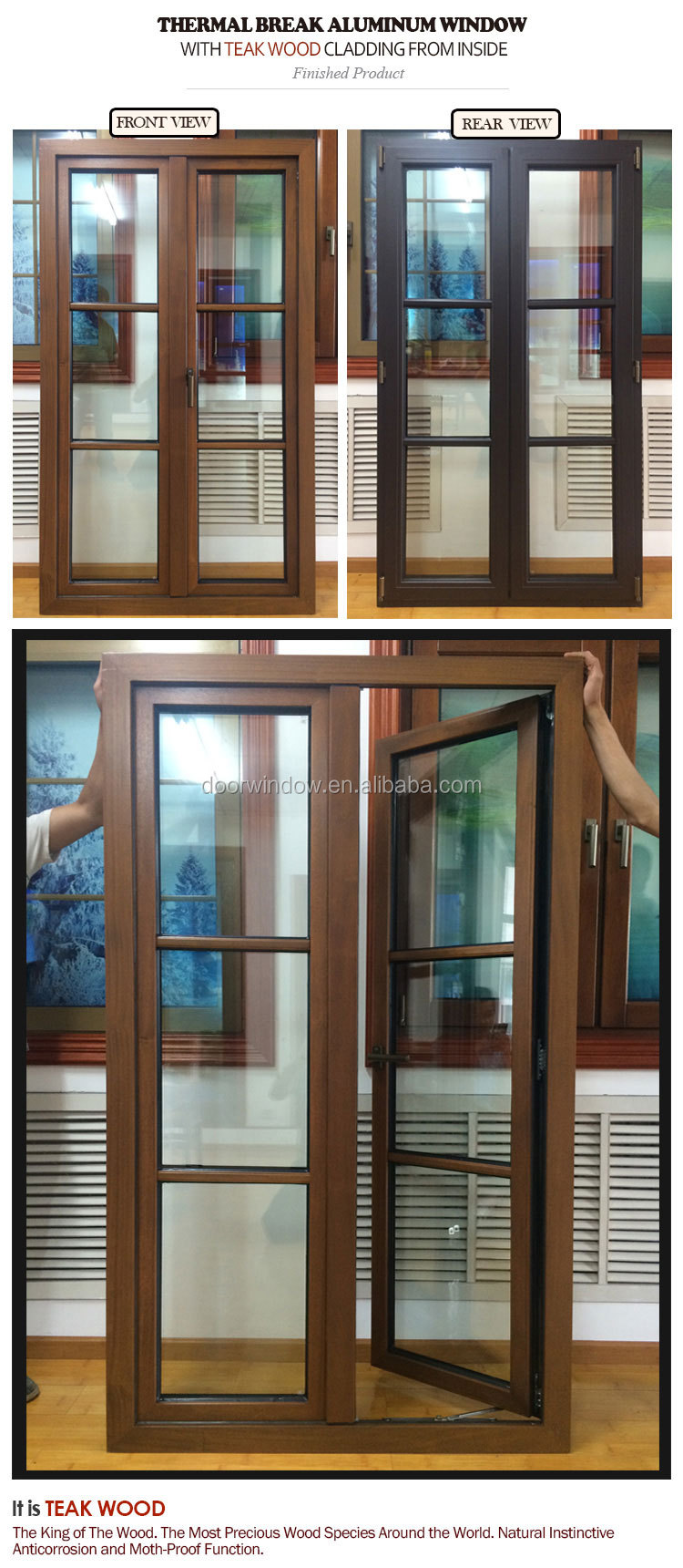 Aluminium plantation shutters casement window horizontal fixed and windows