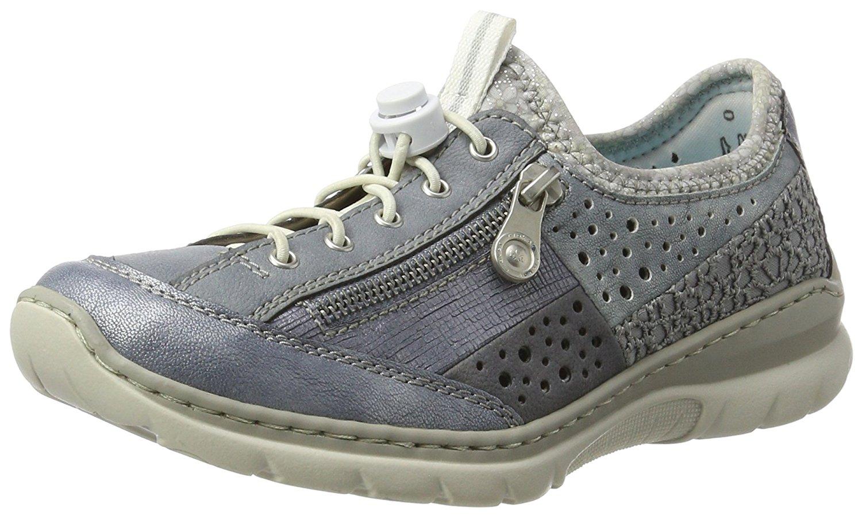 Rieker womens lace up shoes denim/adria/denim/jeans/blue/jeans/silverflower