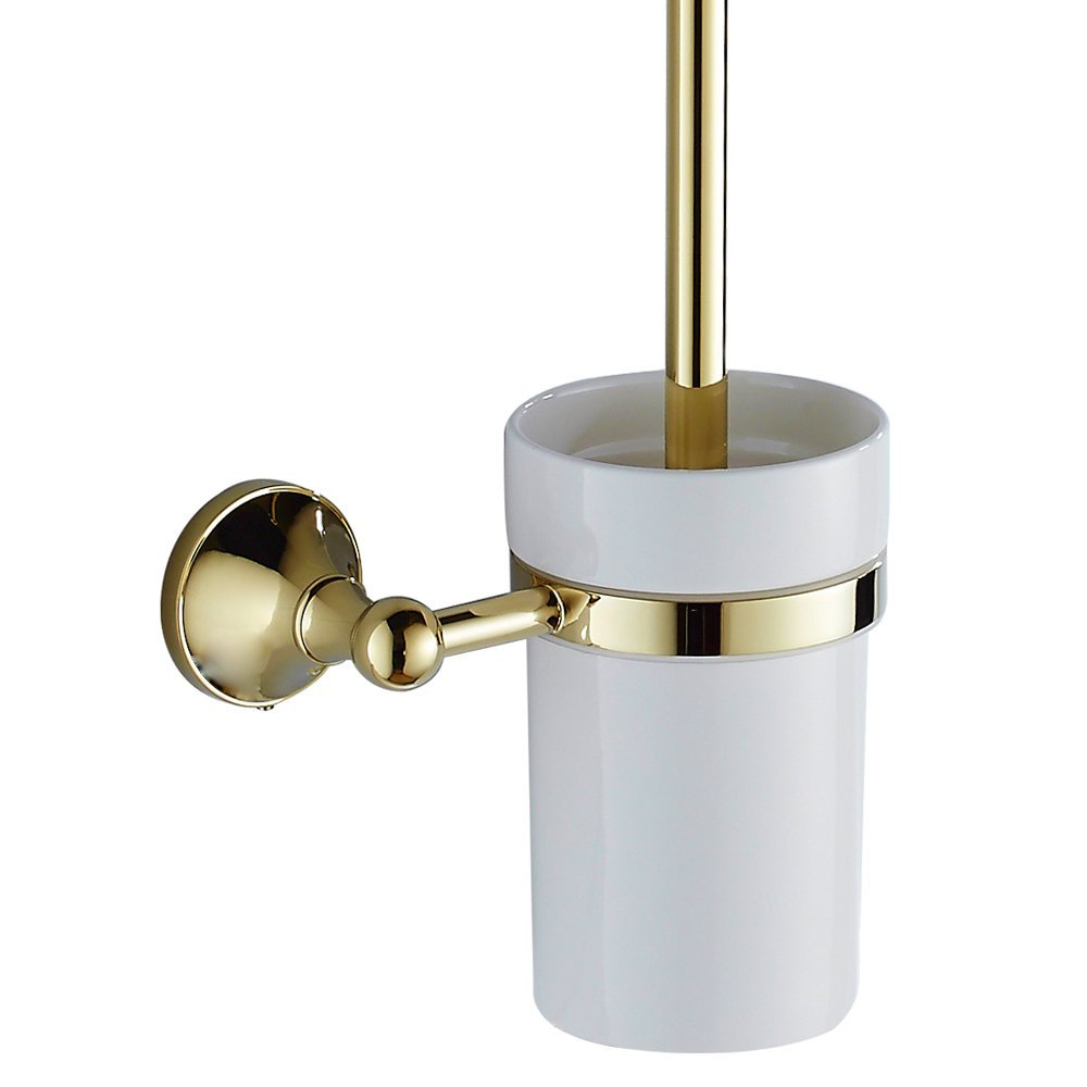 Buy Solid brass bathroom ceramic toilet brush holder bathroom set ...
