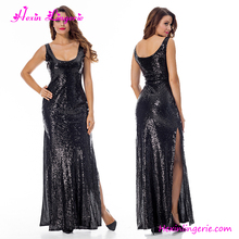 Black Sequins Split Bulk Sexy Ladies Western Wear Modern Evening Dresses