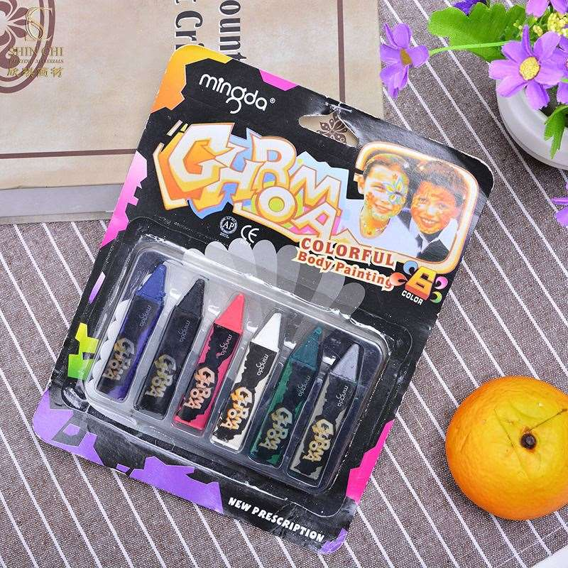 OEM 6 party color pen stick face color Halloween masquerade doodle pen body painting face painting pen