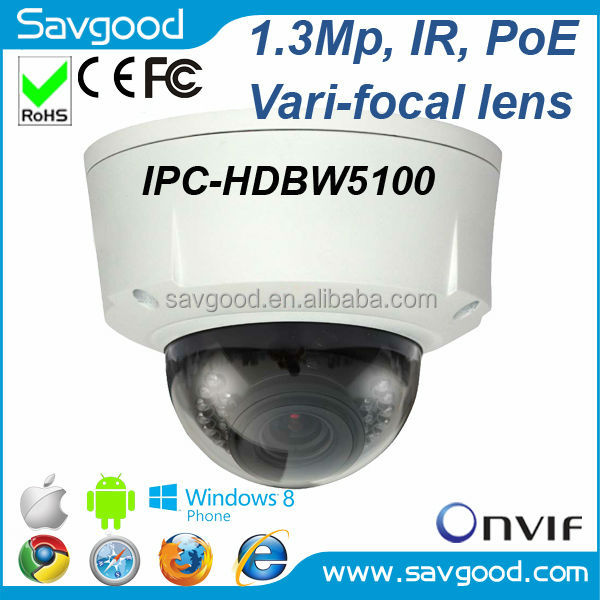 2015 newly 1.3 Megapixel varifocal lens vandal proof IR Dome Dahua Network camera IPC-HDBW5100