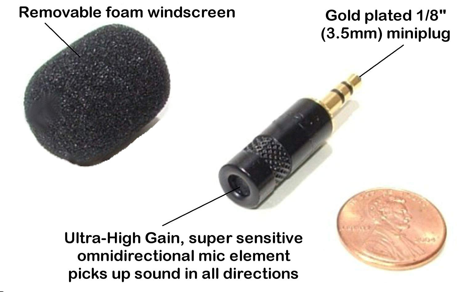 MS-MMM-1 - Master Series by Sound Professionals - Special! Super high gain, high sensitivity Steno machine and laptop mini omnidirectional microphone for court reporters - Made in USA.