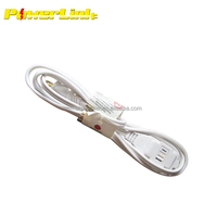 S10145 6 FT 3 Outlet Polarized Indoor Wall Power Extension Cord Cable White UL Listed