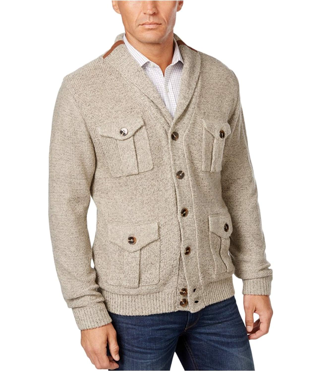 ONTBYB Mens Casual Slim Open Front Horns Button Hooded Long Cardigan Sweater