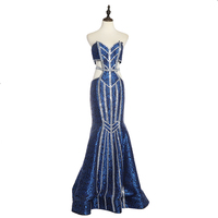2019 Wholesale Women Long Backless Crop Top Sequined Sexy Evening Dress