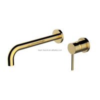 Concealed Gold Faucet Basin Wall Mount For Bathroom