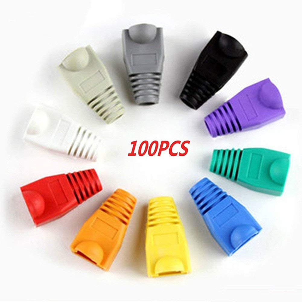 100 Pcs Mixed Color CAT5E CAT6 RJ45 Ethernet Network Cable Strain Relief Boots Cable Connector Plug Cover