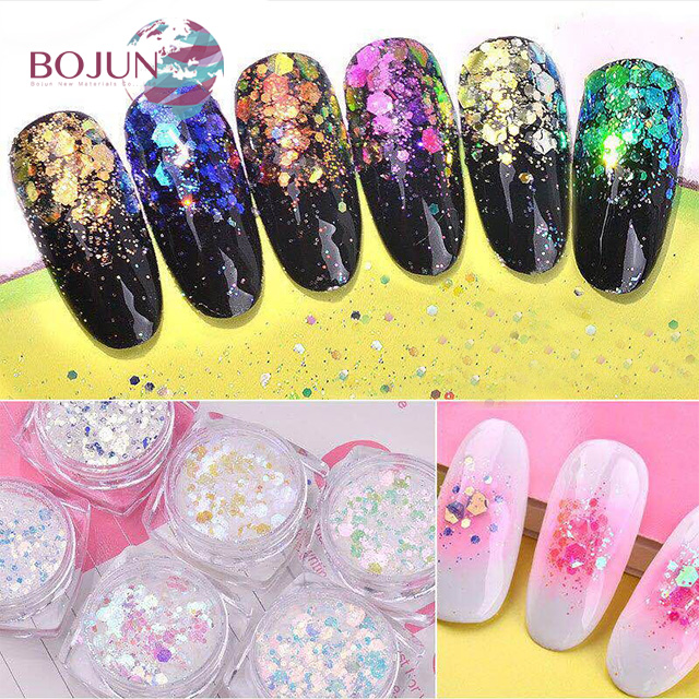 BOJUN- Shinning Mixed Glitter Powder Gorgeous Pigment Nail Glitter Powder mica colors powder for cosmetics