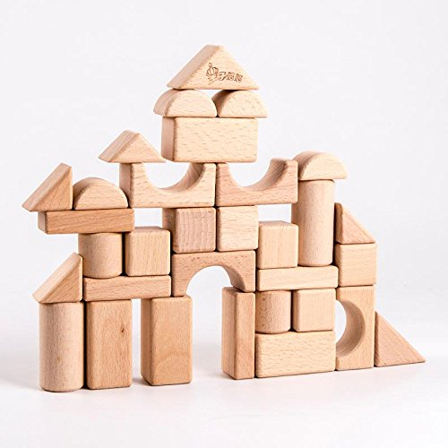 Stacking Blocks Standard Unit Solid-Wood Wooden Blocks Building Blocks with Wooden Storage Tay Container Natural Wood without Painting - 100% Real Beech Wood (Natural, 72PC)