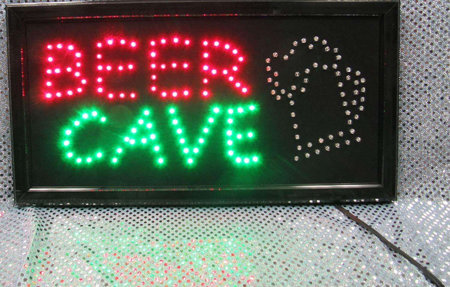 """Decorative Novelty LED Signs for Wall Decor, Man Cave, Wet Bar Accessories (19""""L x 10""""W x 1""""H, Beer Cave)"""
