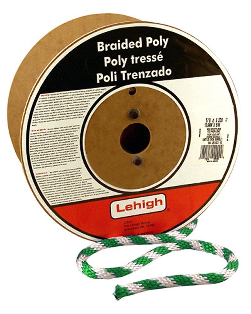 White with Red Marker Crawford-Lehigh Group Lehigh BPE6100PW-P 100-Feet Polyester Diamond Braid Rope