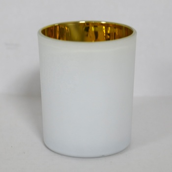 White Color and glass Material cheap Tea Light Candle Holders