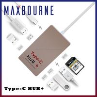 Multifunction 6-Ports Usb 3.1 type c HUB SD Card Reader U-disk 4K HDTV 0.5ft USB Data Cable for Apple Macbook Pro Mac PC Laptop