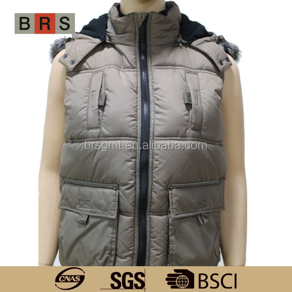 2015 hot style goose down vest jacket with fur