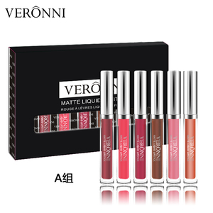 VERONNI Waterproof Matte Liquid Lipstick Moisturizer Smooth Lip Stick Long Lasting Lip Gloss Cosmetic Beauty Makeup set kit