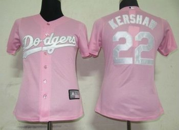 Women Jerseys Los Angeles Dodgers  22 Kershaw Pink Baseball Softball 57bf8951211