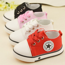 2016 New Spring Classic Children Canvas Shoes Soft Bottom Girls Boys Casual Shoes Lace Up Korean