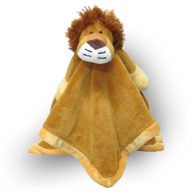 Baby toy blanket with lion attached