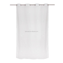 White eyelet embroidered indoor house sheer voile curtain