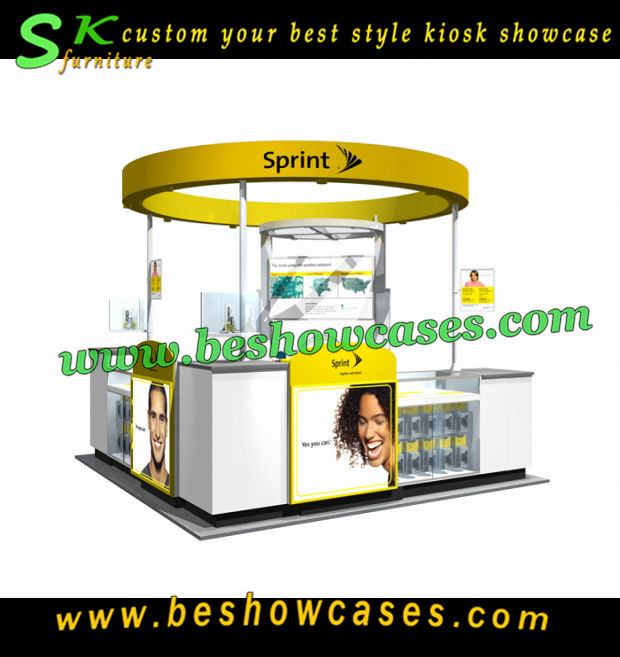 Customized cell phone kiosk sprint mobile phone charging kiosk for cell phone store furniture