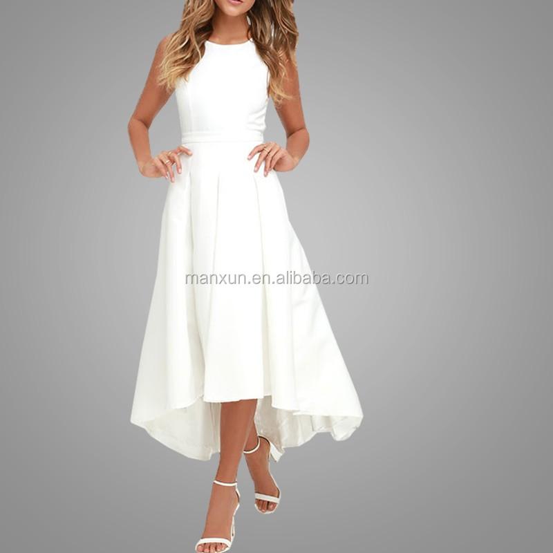 Elegan Wanita Menelan Ekor Rok Backless Desain Cream Putih Gaun