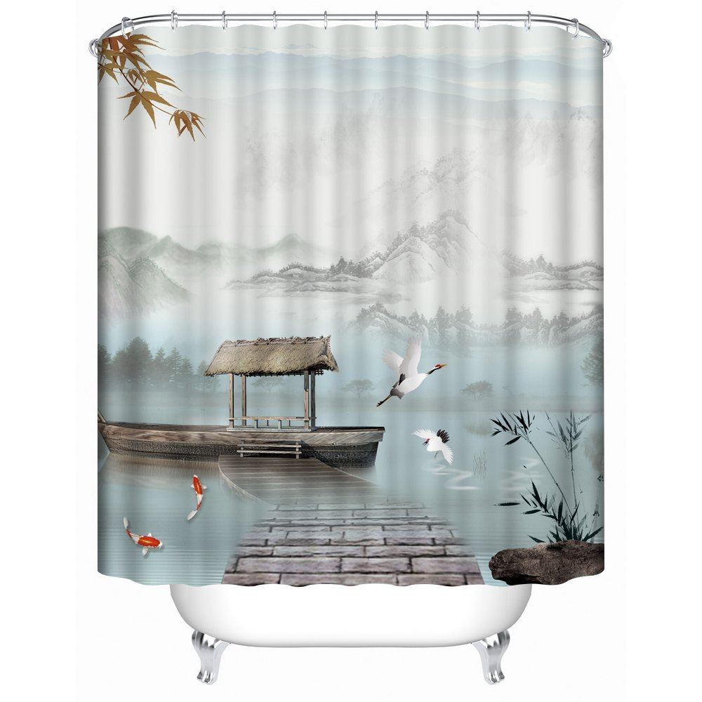 Buy Panoramic Print Fabric Shower Curtain with Boats, Birds and Koi ...