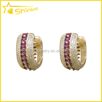 Micro Pave Zirconia Gold Plated Cz Diamond Hoop Earrings