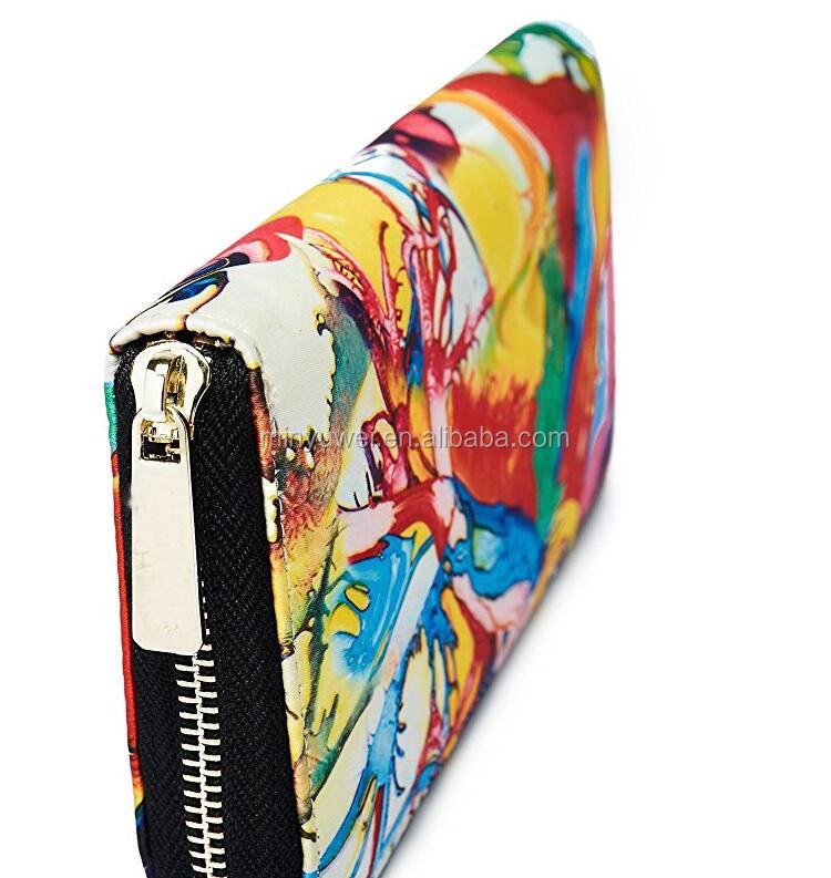 Women's New Design color printing zipper wallet high quality digital picture printing lady zipper wallet