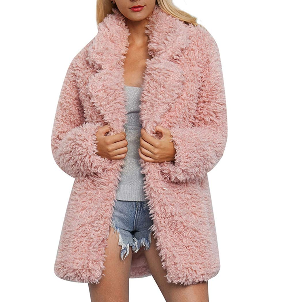 Sikye Coat&Jacket,Ladies Warm Artificial Wool Lapel Coat Shaggy Winter Parka Outerwear Women Solid Color