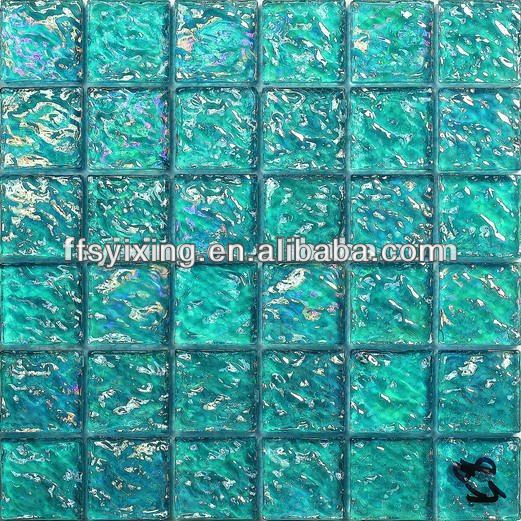 GS01 Blue ripple wave glass tiles swimming pool mosaic tile